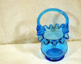 Blue Handled Basket - Vintage Glass - Rufflet Fluted Edge