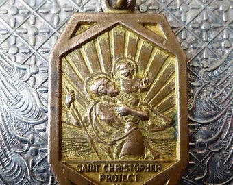 ON SALE Bronze Art Deco Saint Christopher Religious Medal Protector Of Travelers High Relief Thick Catholic Pendant Holy Medallion Gold Wash