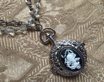 Steampunk Asian Pirate Pocket Watch Locket Necklace with Skull Dragon Cameo Multi Chain Crystals and Pearls