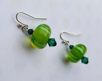 SALE - Silver & Green Swarovski Glass Dangle Earrings - Candy Mint Peppermint Style Christmas Holiday - Bella Mia Beads - READY to SHIP