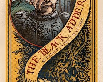 "The Black Adder Matchbox Art- 5"" x 7"" matted signed print"