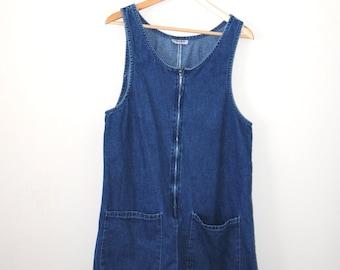 90s denim dress early 1990s grunge zip up mini jean dress medium chambray mini dress
