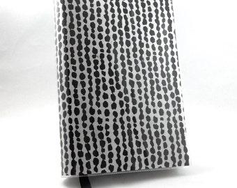 Paperback Book Cover - Reusable, Protective and Adjustable - Large Trade Size - Black Painted Dot Design On Off-White Background