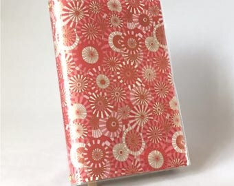 Paperback Book Cover - Reusable, Protective and Adjustable - Large Trade Size - Stylish Book Cover - Peppermint Drop Design with Gold Accent
