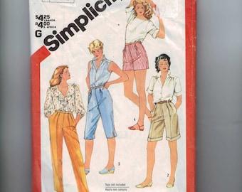 1980s Vintage Sewing Pattern Simplicity 5943 Misses Pants Shorts Bermuda Capris Plus Half Size 24 1/2 1983 80s