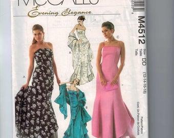 Misses Sewing Pattern McCalls M4512 4512 Petite Evening Elegance Full Length Gown Dress Stole Princess Seams Boned Size 12 14 16 18 UNCUT