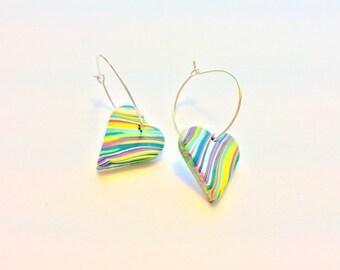 Heart Handmade Earrings Polymer Clay Beads Marbled Turquoise Pink Green Simple Silver Hoop Earrings