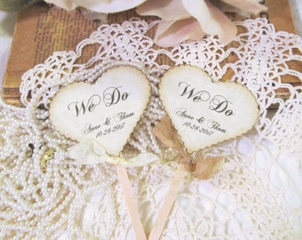 Wedding Hearts Cupcake Toppers w/ribbons -  We Do - Customized Party Picks - Set of 12 - Choose Ribbons - Rustic Vintage