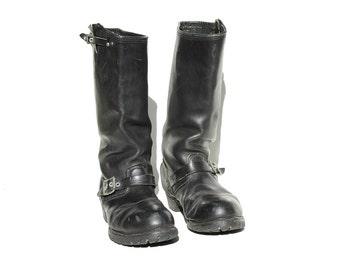 Men's Black Leather Steel Toe Bike Riding Boots / size 11