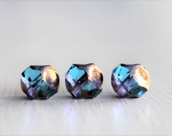 15 Bright Aqua/Bronze 8mm Irregular Round Czech Glass