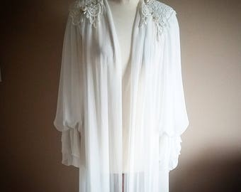 Romantic White Sheer Chiffon Maxi Evening Lingrie Robe Cover Up Nightie