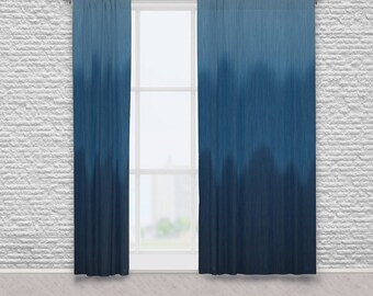 Ombre Blue Asymmetrical Wave Window Curtains, Digitally Created Faux Dark to Light Denim Blue Jean Graphic Abstract Print Patterned Drapes