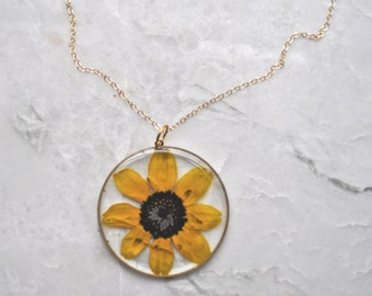 Black Eyed Susan Pressed Flower Necklace Pressed Flower Jewelry Botanical 14k Gold Fill