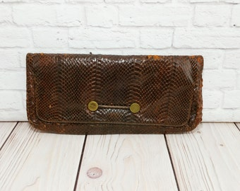 Vintage Brown Wilshire Snakeskin Clutch Purse With Coin Purse