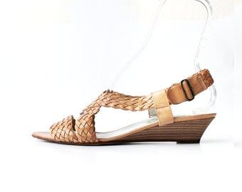 1970s Braided Leather Criss Cross Boho Sandals