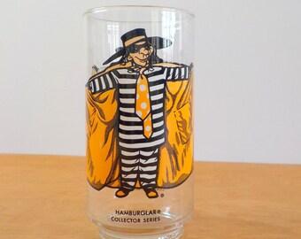 Vintage McDonalds Glass •  Hambuglar Collector Series • 1970s Vintage Character Glass