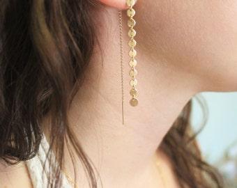 Gold Coin Threader Earrings, Drop Earrings, Gold Earrings, Gold Bar Earrings, Dangling Earrings, Everyday Earrings