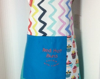Baking apron,Ladies apron-Red hot buns handle with care embroidered apron OOAK