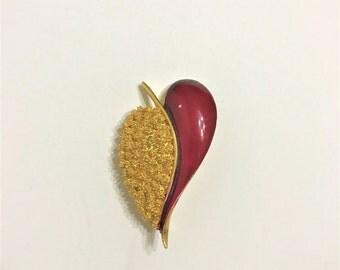 vintage B.S.K red enamel gold tone leaf brooch