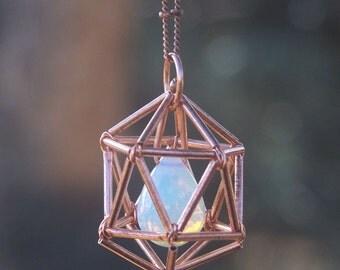NEW! Geometric Necklace - Icosahedron - Opalite - Serenity - Copper