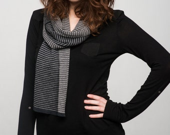 Gray Shades Scarf - Classical Elegance - Reversible Pure Merino Unisex Scarf
