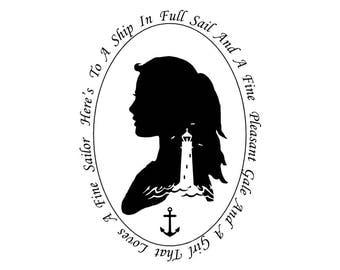 The Girl Nautical Silhouette Lighthouse Sailor Black and White Beach House Decor Ocean Anchor