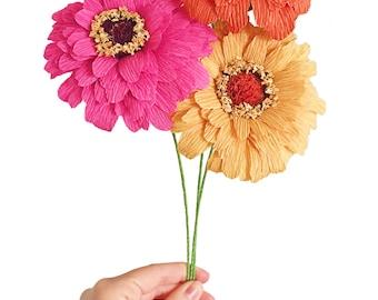 Summer Garden Zinnia—Handmade Crepe Paper Flower