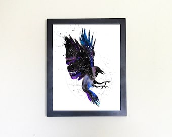 Raven / Crow Spirit Animal Art Print Watercolor Totem Guide