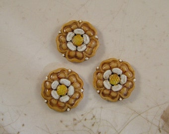 Warm Gold Flower Button set of 3