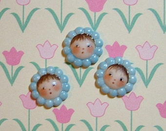 Blue Flower Face Button set of 3