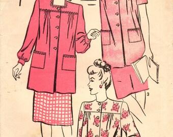 1940s Advance 4137 Vintage Sewing Pattern Misses Smock, Art Smock, Work Smock Size Small, Medium
