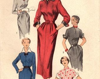 1950s Advance 5597 Vintage Sewing Pattern Misses Slim Dress, Sheath Size 14 Bust 32