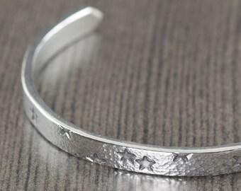 Sterling silver bangle bracelet star bracelet cuff bracelet unisex bracelet unisex bracelet starry night gifts for her