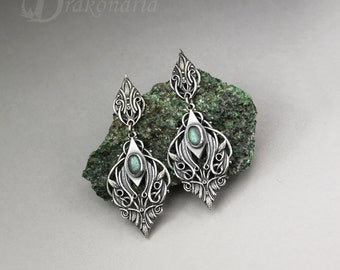 Elven earrings, Sindarin - Narn, silver with labradorite, limited collection