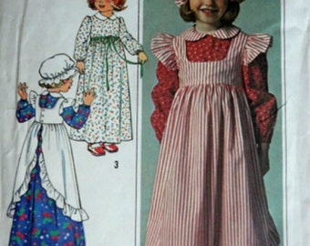Vintage 70's Simplicity 7776 Sewing Pattern, Child's Girls Dress, Pinafore and Hat, Size 6, Colonial Style 1970's Pattern