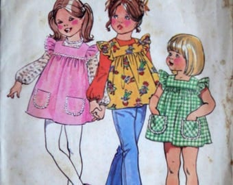 Vintage 70's Simplicity 5479 Sewing Pattern, Girls' Smock-Dress or Top and Blouse, Size 5, Retro 1970's Kids Fashion