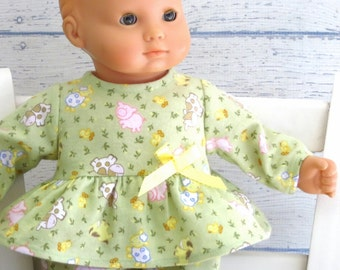 Baby Doll Pajamas, 15 inch Doll Clothes Baby Animals Flannel Pajamas