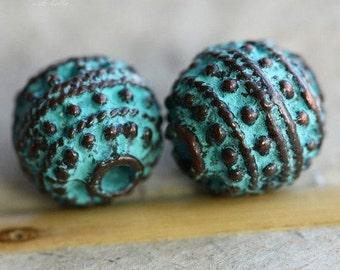 DECO No. 34 .. 2 Mykonos Greek Decorative Bead 11x12mm (M34-2)
