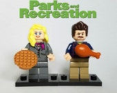 Parks and Recreation - Custom Lego Minifigure Set - Leslie Knope and Ron Swanson
