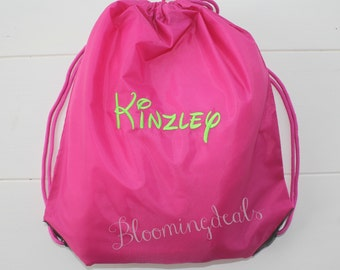 Personalized Cinch Sack, Pink Drawstring Bag 16.5 x 14.5, Vacation Bag, Monogram Travel Tote Custom Embroidery