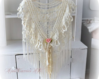 Shabby Mori Girl Shawl Two Layers Wedding Shawl Mother of Bride Special Occasion