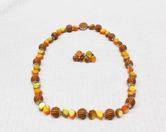 60s 70s Vintage Orange and Brown Beaded Necklace and Earring Set Demi Parure Japan