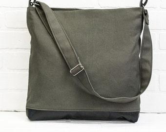 grey sling bag, shoulder bag, tote, messenger bag, grey canvas, crossbody bag, repurposed leather, stacylynnc, book bag, travel bag