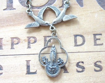 Our Lady of Lourdes Vintage Replica Religious Medal with Birds Necklace, Whimsical Necklace