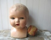 Vintage composition doll head tin eye baby doll head with shoulders cloth body type for projects creepy or Halloween decor or art project E2