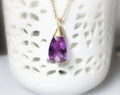 Alexandrite Necklace, Solitaire Pendant, Quartz Gemstone, Purple Layering Necklace, Gifts for Her, Gold Fill
