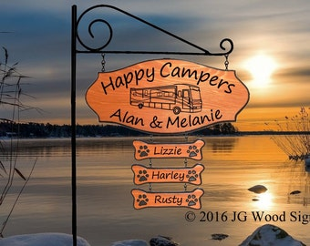 RV Graphic - CEDAR Rv Wood Sign - Personalized Camping Sign with XL Sign holder and 3 add on signs  - JGWoodSigns -Etsy AlanMelanie