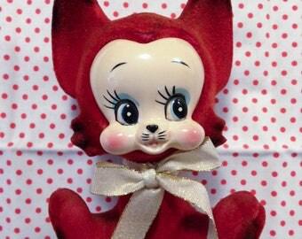 Vintage Rare Japan Ceramic Flocked Red Fox Cat Big Eye Figurine