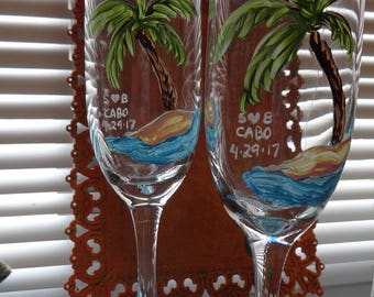 Palm tree toast flutes  Beach Bride must have hand painted customize me