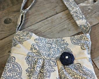 Conceal Carry Purse, Medium Messenger Bag, Natural and Blue Damask, Conceal Carry Handbag, Concealed Carry Purse, Conceal and Carry, Navy